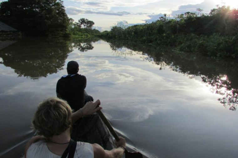 Beautiful boat trip on the Amazon River in Iquitos, Peru.