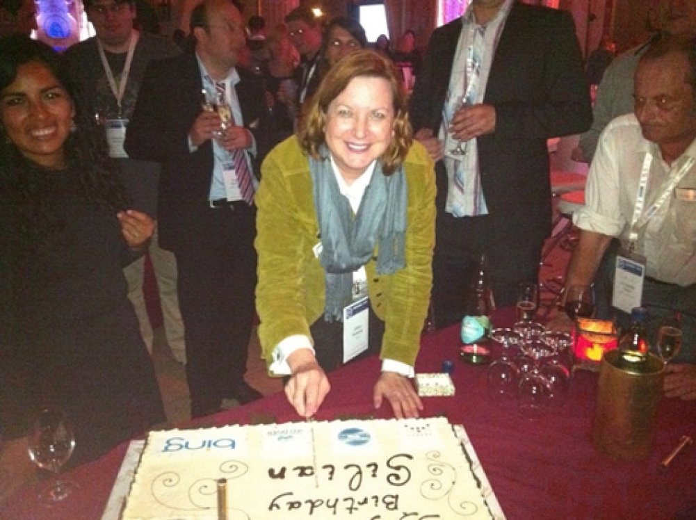 MOZ founder Gillian Muessig and Yngrid Arnold with Gillian's Birthday cake