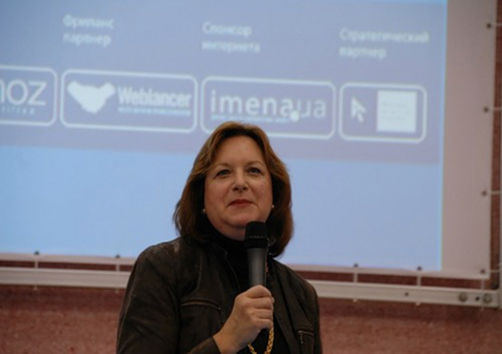 CEOCoach co-founder MOZ Gillian Muessig giving keynote address